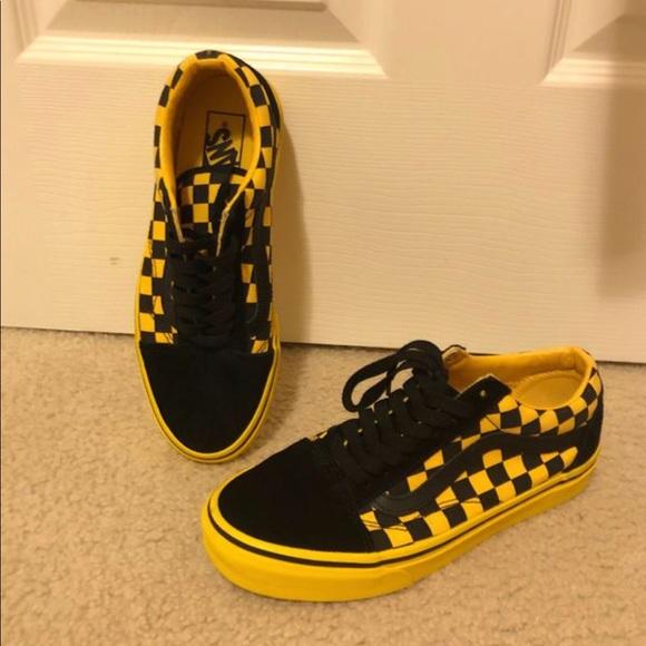 Black And Yellow Classic Checkered Vans